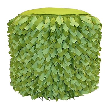 Edie Inc. Dimensional Strips Pouf Ottoman; Leaf/Lime