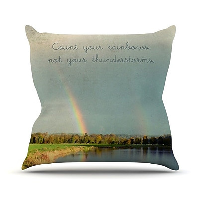KESS InHouse Count Rainbows Throw Pillow; 18'' H x 18'' W