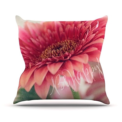 KESS InHouse Be Happy Throw Pillow; 16'' H x 16'' W