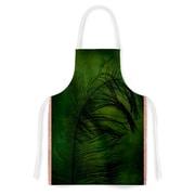 KESS InHouse Feather Green Fabric Artistic Apron