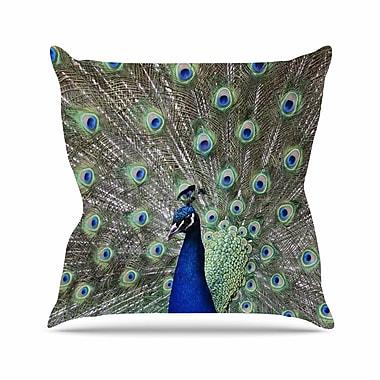 KESS InHouse Peacock of Stunning Features Throw Pillow; 18'' H x 18'' W