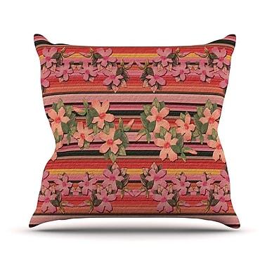 KESS InHouse Peach Hibiscus Stripe Throw Pillow; 26'' H x 26'' W