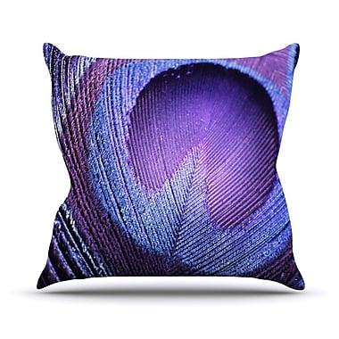 KESS InHouse Purple Peacock Throw Pillow; 18'' H x 18'' W