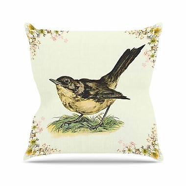 KESS InHouse Vintage Bird Throw Pillow; 16'' H x 16'' W