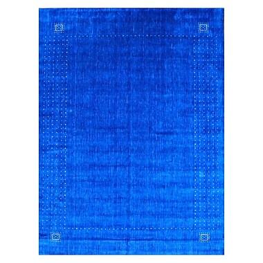 Herat Oriental Hand-loomed Gabbeh Blue/ Beige Wool Rug; Rectangle 9' x 12'