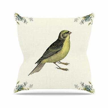 KESS InHouse Vintage Bird 2 Throw Pillow; 18'' H x 18'' W