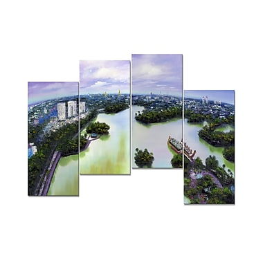 Designart Asian Cityscape on the Water, 4 Piece Gallery-wrapped Canvas Art, (PT2033-271)