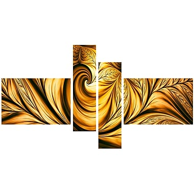 Designart Abstract Golden Dream, 5 Piece Gallery-Wrapped Wall Print Art, (PT3026-279)