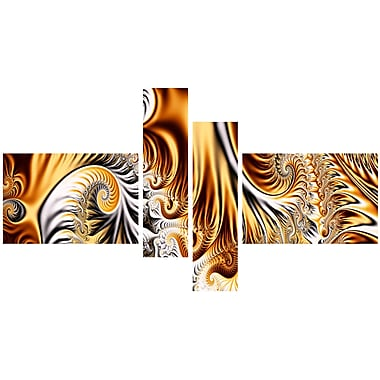 Designart Abstract Gold & Silver Ribbons Canvas Art, (PT3014-279)