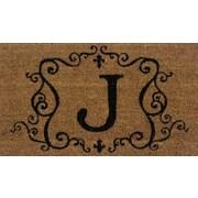 Tapis d'extérieur Premier Gift en fibre de coir, lettre J, vinyle, 16 x 27 (po) (GA2RM010)