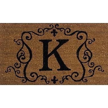 Tapis d'extérieur Premier Gift en fibre de coir, lettre K, vinyle, 16 x 27 (po) (GA2RM011)
