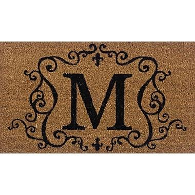 Premier Gift Coir Fiber Outdoor Mat, Letter M, Vinyl, 16