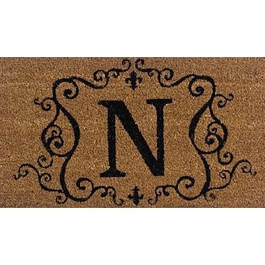 Tapis d'extérieur Premier Gift en fibre de coir, lettre N, vinyle, 16 x 27 (po) (GA2RM014)