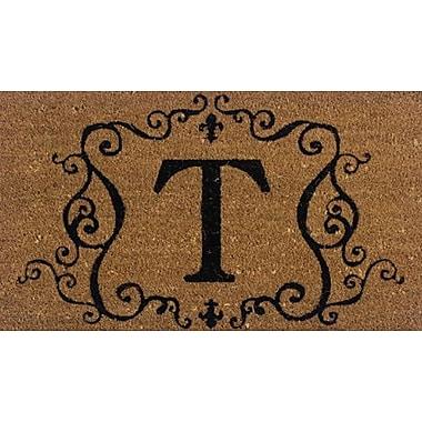 Premier Gift Coir Fiber Outdoor Mat, Letter T, Vinyl, 16