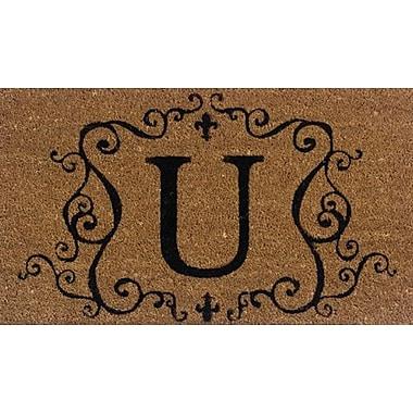 Tapis d'extérieur Premier Gift en fibre de coir, lettre U, vinyle, 16 x 27 (po) (GA2RM021)