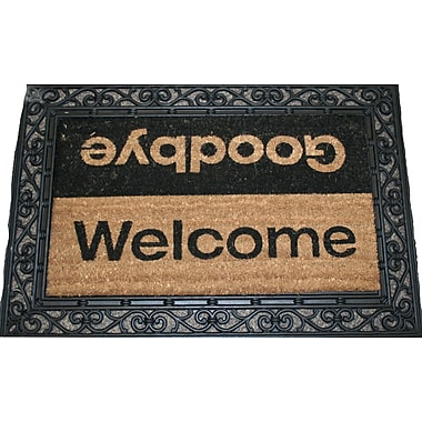Premier Gift Coir Fiber Outdoor Mat, Welcome/Goodbye, Vinyl, 16