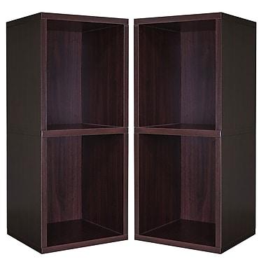 Cathay Importers Double Cube Plus Storage Shelf, Espresso, 13.5
