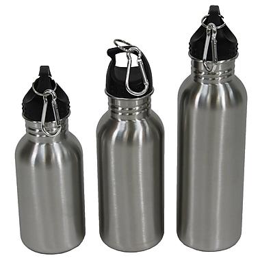 Cathay Importers – Bouteillles d'eau en acier inoxydable avec mousquetons, ensemble de 3 unités