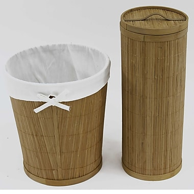 Cathay Importers Bamboo Bathroom Set, Cloth Lining Waste Basket and Bamboo Toilet Paper Holder with Lid