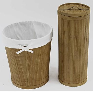 Cathay Importers ? Ens salle de bain en bambou, poubelle doublure en tissu et porte-papier hygiénique en bambou avec couvercle