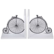 Cathay Importers Vintage Bicycle Theme Wood Bookends, White