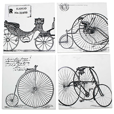 Cathay Importers Vintage Bicycle Theme Wall Art Decor, 4 Assorted Designs