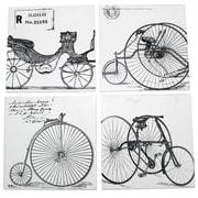 Cathay Importers – Crochet mural rétro sous le thème bicyclette, 4 crochets assortis