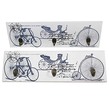 Cathay Importers Vintage Bicycle Theme Wall Art Hanger with 3 Hooks