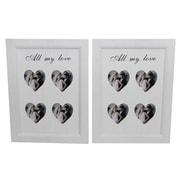 Cathay Importers - Cadre en bois « All My Love » pour 4 photos de 3 po x 3 po, blanc