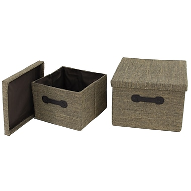 Cathay Importers Jute Square Storage Box with Lid, Large and Small