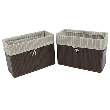 Cathay Importers Bamboo Fabric Lined Rect Storage Basket