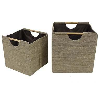 Cathay Importers Jute Square Storage Baskets With Wood Handles, Large and Small