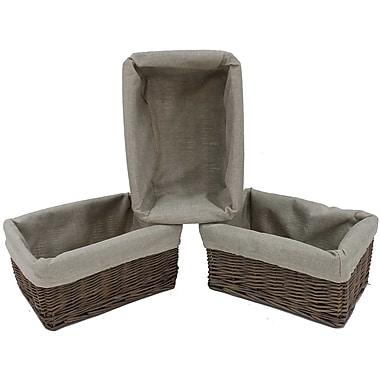 Cathay Importers - Bac de rangement en bois de saule avec doublure en tissu, 12 x 8 x 5,5 po haut., gris