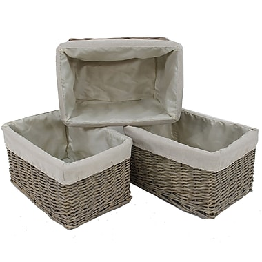Cathay Importers Willow Rect Storage Basket With Fabric Lining, 15 x 10 x 8