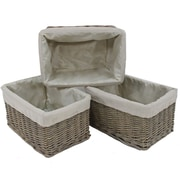 """Cathay Importers Willow Rect Storage Basket With Fabric Lining, 15 x 10 x 8""""H, Grey"""