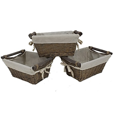 Cathay Importers Willow Rect Storage Basket With Fabric Lining, 17 x 12 x 8.5