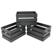 """Cathay Importers Rustic Rect Wood Storage Crate, 15 x 10 x 8""""H, Black"""