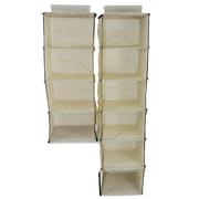 Cathay Importers Fabric 4 and 6 Shelf Hanging Closet Organizers, Cream