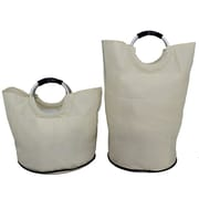 Cathay Importers Fabric Laundry Totes, Large and Small, Cream