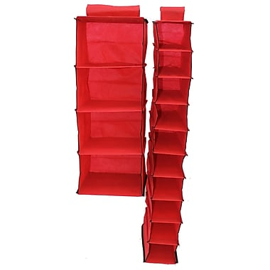 Cathay Importers 4-Shelf/10-Shelf Hanging Organizers, Red