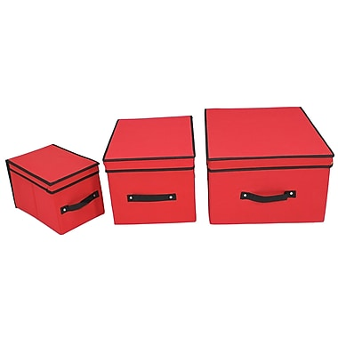 Cathay Importers Fabric Lidded Storage Boxes, Large/Medium/Small, Red