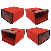 Cathay Importers Stackable Fabric Shoe Boxes, Red