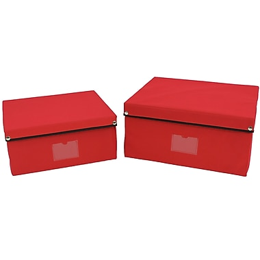 Cathay Importers Fabric Lidded Storage Boxes, Large and Small, Red