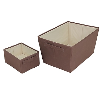 Cathay Importers Polyester Rect Storage Baskets, Large and Small, Brown