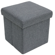 Cathay Importers Linen Folding Storage Ottoman, Grey, 2/Set