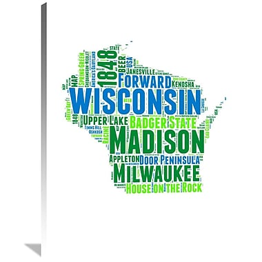 Naxart 'Wisconsin Word Cloud Map' Textual Art on Wrapped Canvas; 40'' H x 30'' W x 1.5'' D