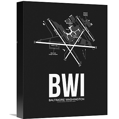 Naxart 'BWI Baltimore Airport' Graphic Art on Wrapped Canvas in Black; 16'' H x 12'' W x 1.5'' D