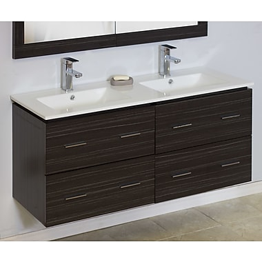 American Imaginations Modern 46'' Double Vanity Base; Chrome