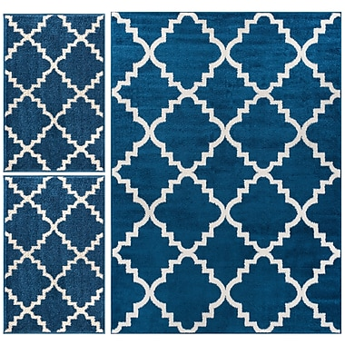 Well Woven Royal Court 3 Piece Blue Area Rug Set
