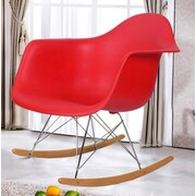 AdecoTrading Rocking Dining Arm Chair (Set of 2); Red